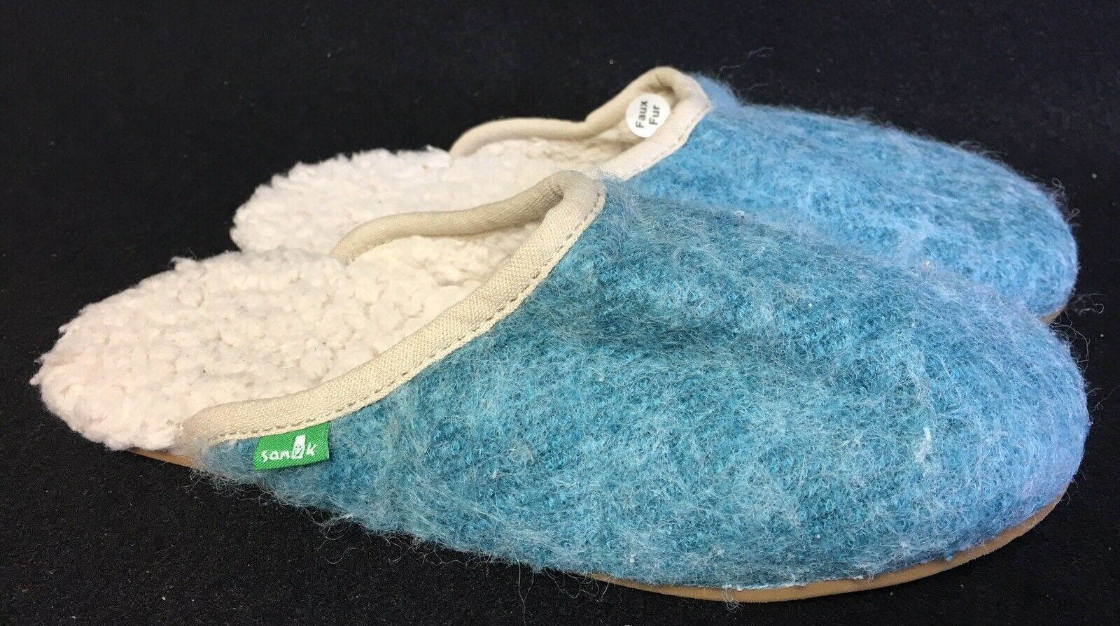 SANUK EGGSHELL FURBRRR CHILL SIDEWALK SURFER SLIPPERS Slides Shoes WOMENS size 7