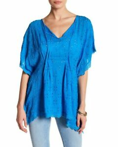 Johnny-Was-TUNIC-Size-L-PONCHO-TOP-turquoise-blue-eyelet-embroidered-LUXE-BOHO