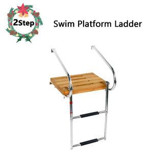 Teak Inboard Boat Swim Platform with 3 Steps Ladder /& 2 Rails Top Selling