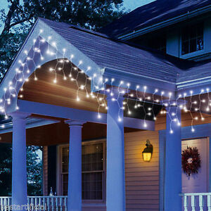 120 led 3m 10ft battery icicle lights waterproof outdoor timer multi function ebay for Walmart exterior christmas lights