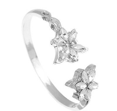 Crystal Flower Cuff Bracelet Silver Plated Evenstar New Jewelry Gift