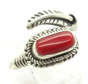Navajo-Coral-Feather-Sterling-Silver-925-Ring-5g-Sz-6-5-NEW819