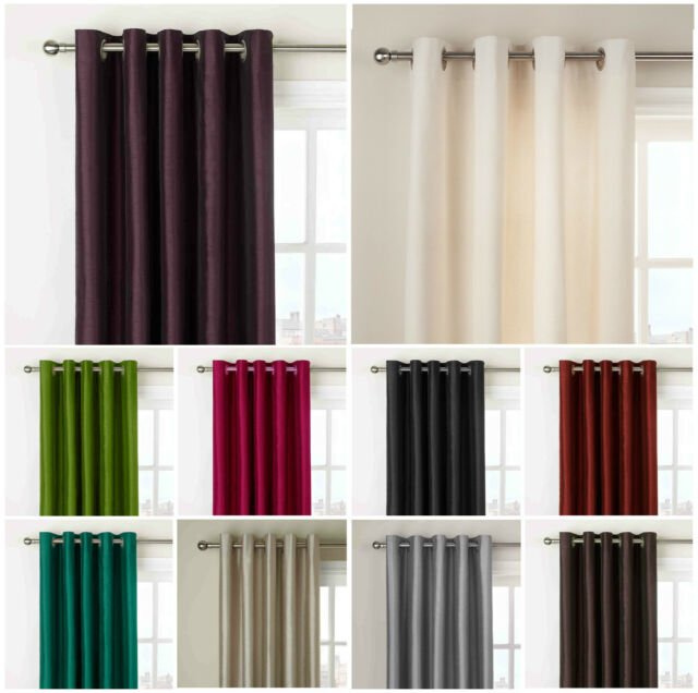 Curtains Ring Top Eyelet Ready made fully Lined plain CHENILLE Wine Red