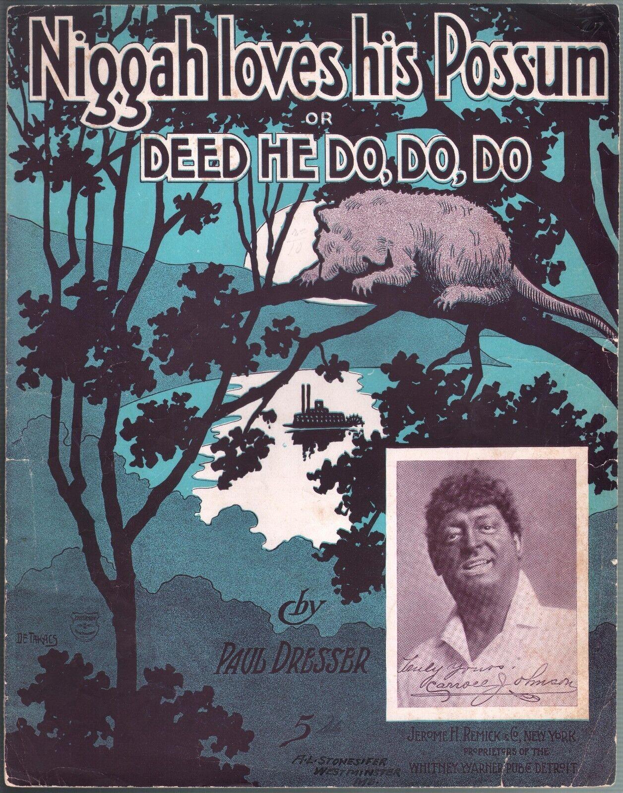 Niggah Loves His Possum 1905 Large Format Sheet Music