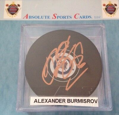 Autographs-original Auto Fine Craftsmanship Independent Alexander Burmisrov Winnipeg Jets Official Team Autographed Puck W/case Sports Mem, Cards & Fan Shop