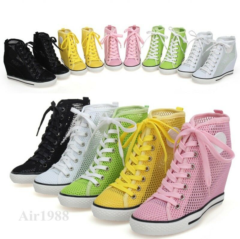 Women Hidden Wedge Heel Mesh Hollow Out Sneakers Sandal Mesh School New Shoes