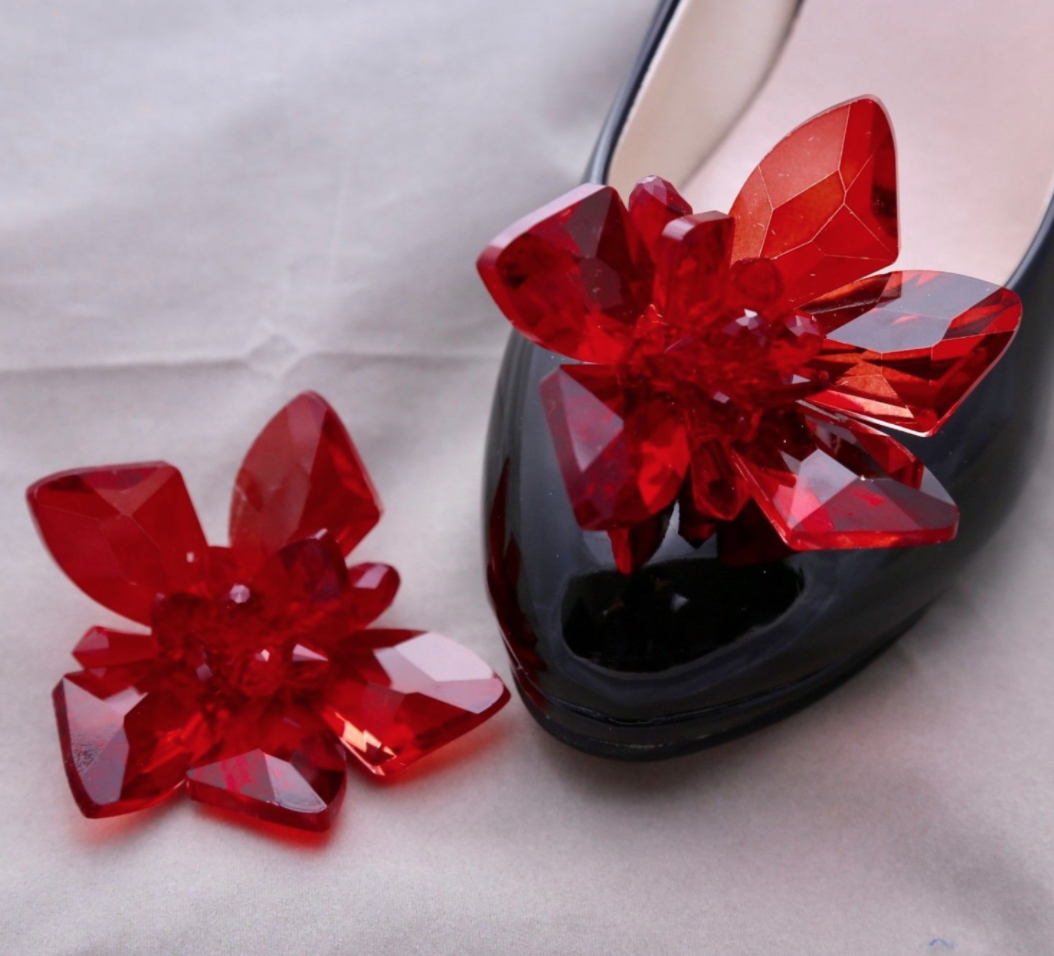 2 Pcs Red Glass Crystal High Heel Shoes Shoe Clips