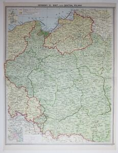 Large Map Of Germany.1920 Large Map Germany East Central Poland Warszawa Poznan Bialystok
