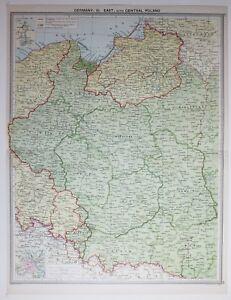 1920 LARGE MAP GERMANY EAST CENTRAL POLAND WARSZAWA POZNAN BIALYSTOK