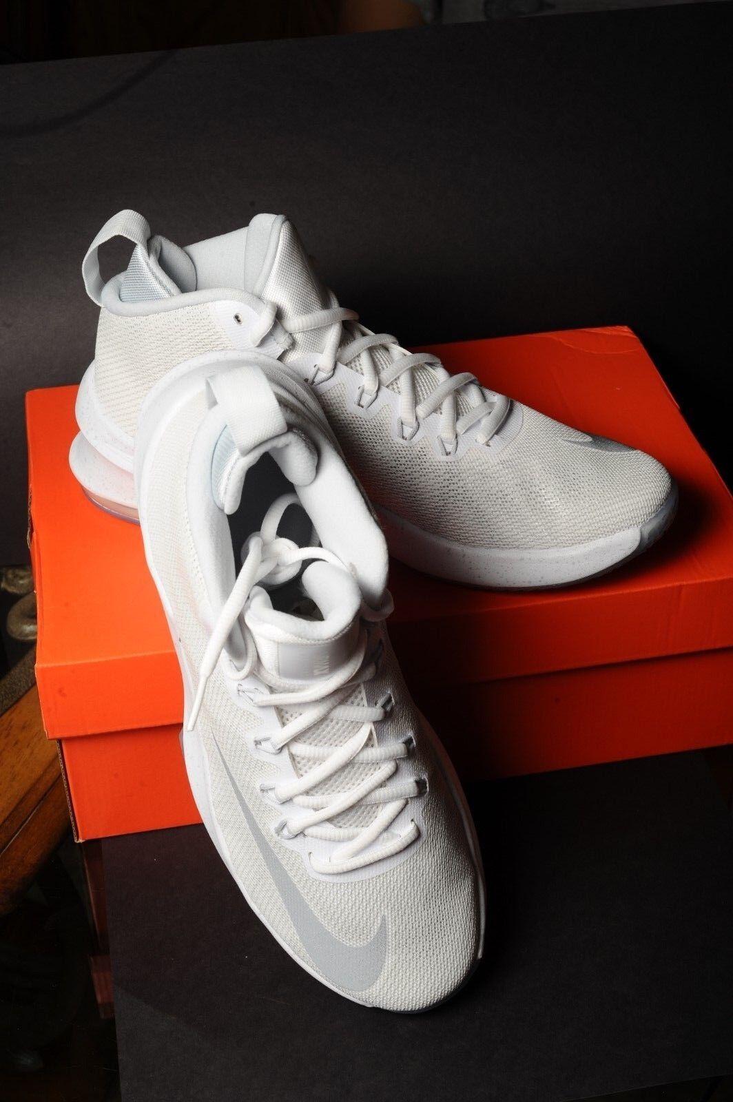 Nike Mens Air Max Infuriate Mid Premium Basketball shoes AA4439-100 White Silver