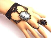 Cameo Slave Bracelet Black Lace Bronze Ring Goth Steampunk Victorian Cuff N6