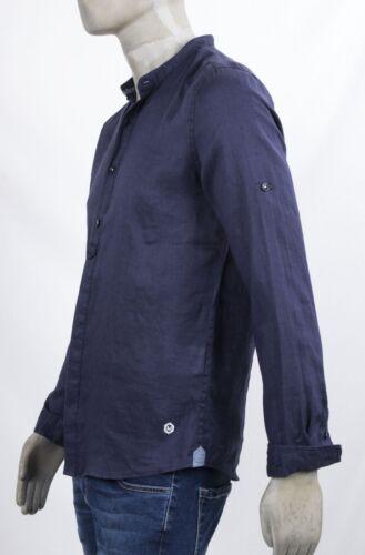 100 Lunga Camicia In Manica Morbida Lino Markup Blu Con Colletto Coreana tqwzP