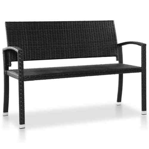 vidaXL Outdoor Bench Poly Rattan 122x60x87cm Black Garden Patio Park Seat