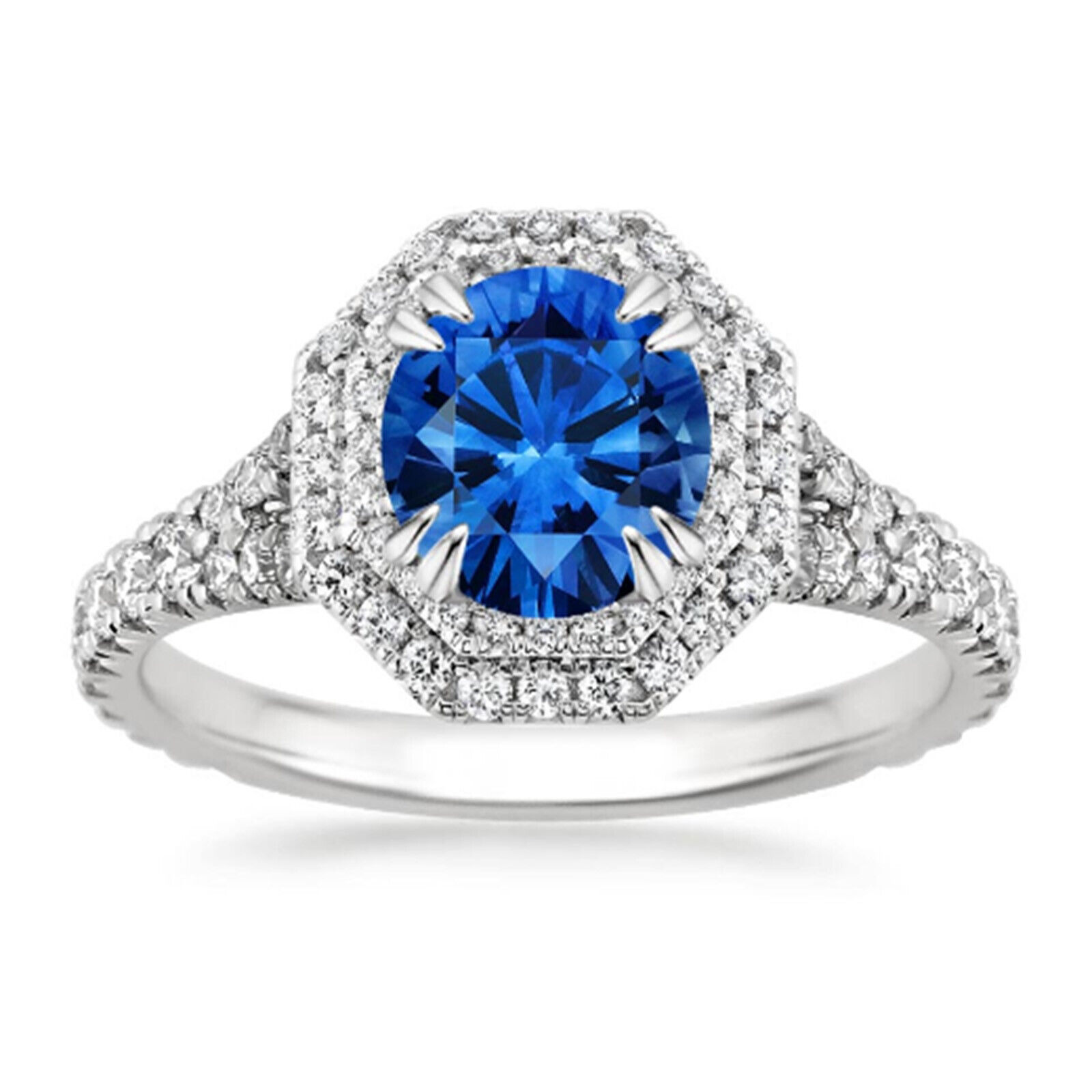 2.05 Ct bluee Sapphire Gemstone Ring 14K Solid White gold Natural Diamond Size O