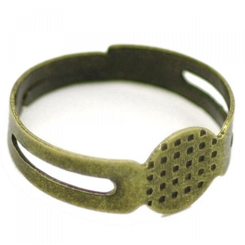 10x Ring Klebeplatte 50-60 16-19mm verstellbar Rohling basteln silber bronze