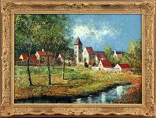 BUCHER Signed vintage c1960s original Austrian oil painting VILLAGE LANDSCAPE