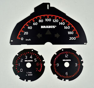 Brabus Smart 451 Tachometer Drehzahlmesser und Uhr, bis zu 200 km/h rote