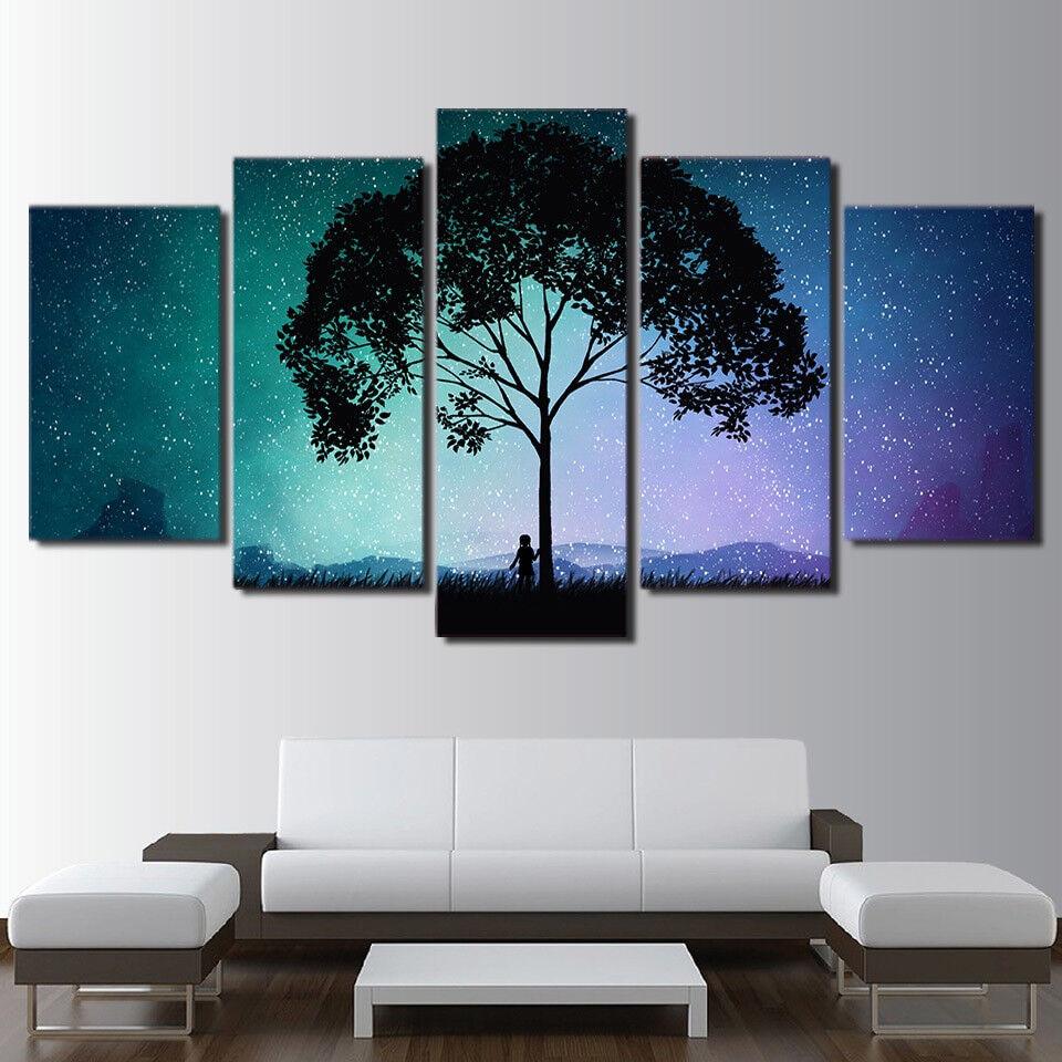 Lonely Tree Mädchen Starry Night Sky 5 Piece Canvas Drucken Wand Kunst