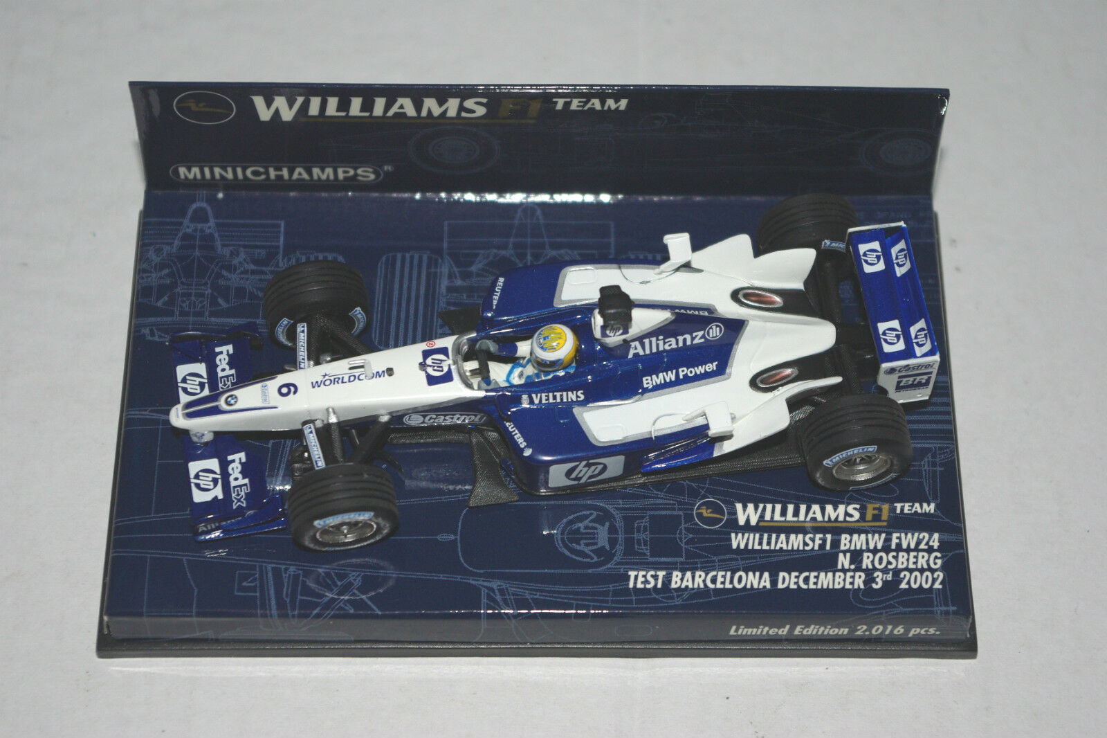 Minichamps F1 1 43 WILLIAMS BMW FW24 NICO ROSBERG TEST BARCELONA 2002 Ltd.Ed.