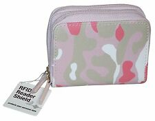 Buxton Wizard Women RFID Pink - Camo Leather Credit Card ID Wallet-Exclusive