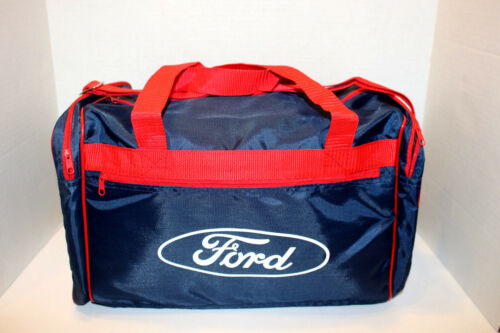 DUFFEL BAG NAVY BLUE WITH RED TRIM GYM VINTAGE FORD  TRAVEL