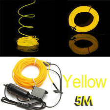 5M Flexible EL Wire Neon-LED-Auto-Licht-Party Rope Tube +12V Wechselrichter ET
