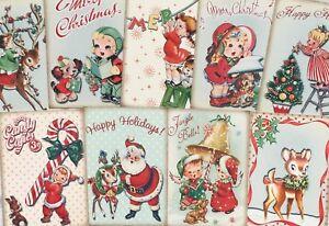 Crafts Vintage Santa Christmas Glossy Finish Card Making Topper