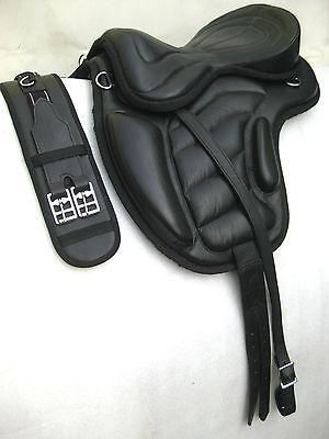 "Treeless cow softy leather Saddles black size 16"",17"" & 18""  +  Matching Girth"
