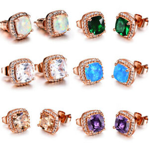 Wholesale-6-Square-Opal-Amethyst-Topaz-Morganite-Rose-Gold-Plated-Stud-Earrings