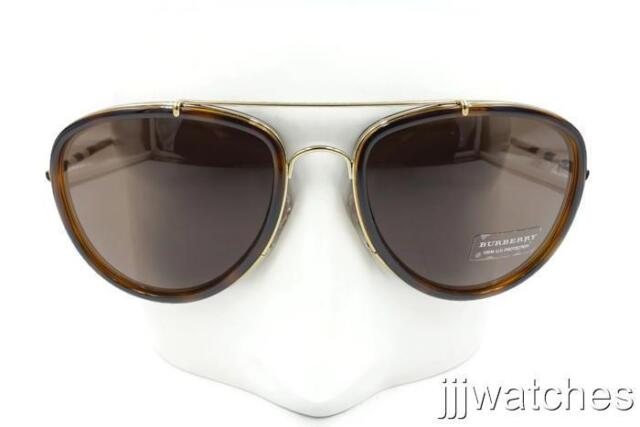 36299acf1b6 New Burberry Aviator Gold Light Havana Sunglasses BE3090Q 116773 58  270