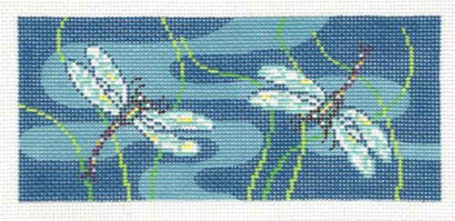 Summer Dragonfly/'s in Blue handpainted Needlepoint Canvas ~ BB Insert ~ by LEE