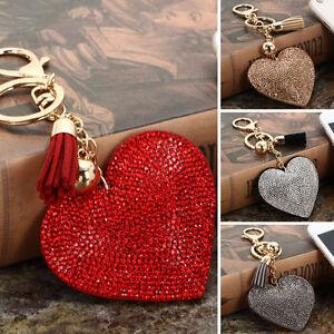 Heart-Crystal-Rhinestone-Handbag-Charm-Pendant-Keychain-Bag-Keyring-Key-Chain