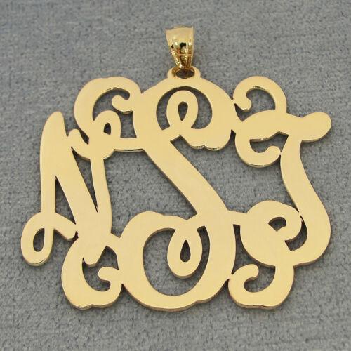 14k Solid Gold 3 Initials Monogram Pendant 1 1//2 Inch GM33