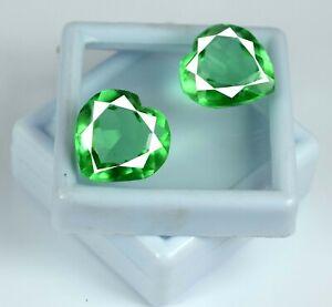 24-26 Ct Heart Zambian Emerald Gemstone Pair Natural Certified Valentine's Gift