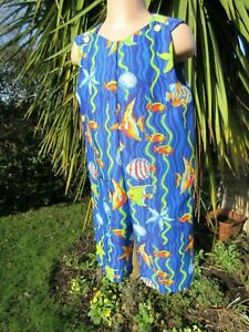 Adjustable-Dungarees-Multi-Tropical-Fish-18-24-months-New-Handmade