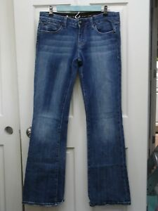 Rerock-Express-Women-039-s-Size-8-32x34-Distressed-Flared-Jeans-Stretch-84-12520