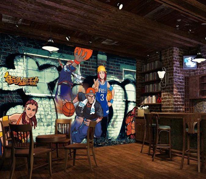 3D Basketball Boy Graffiti Wall Paper Wall Print Decal Wall Deco AJ WALLPAPER