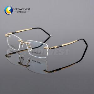 48411d610cd Details about Designer Men s Rimless Spring Hinge Temple Eyeglasses Frames  Optical RX Able