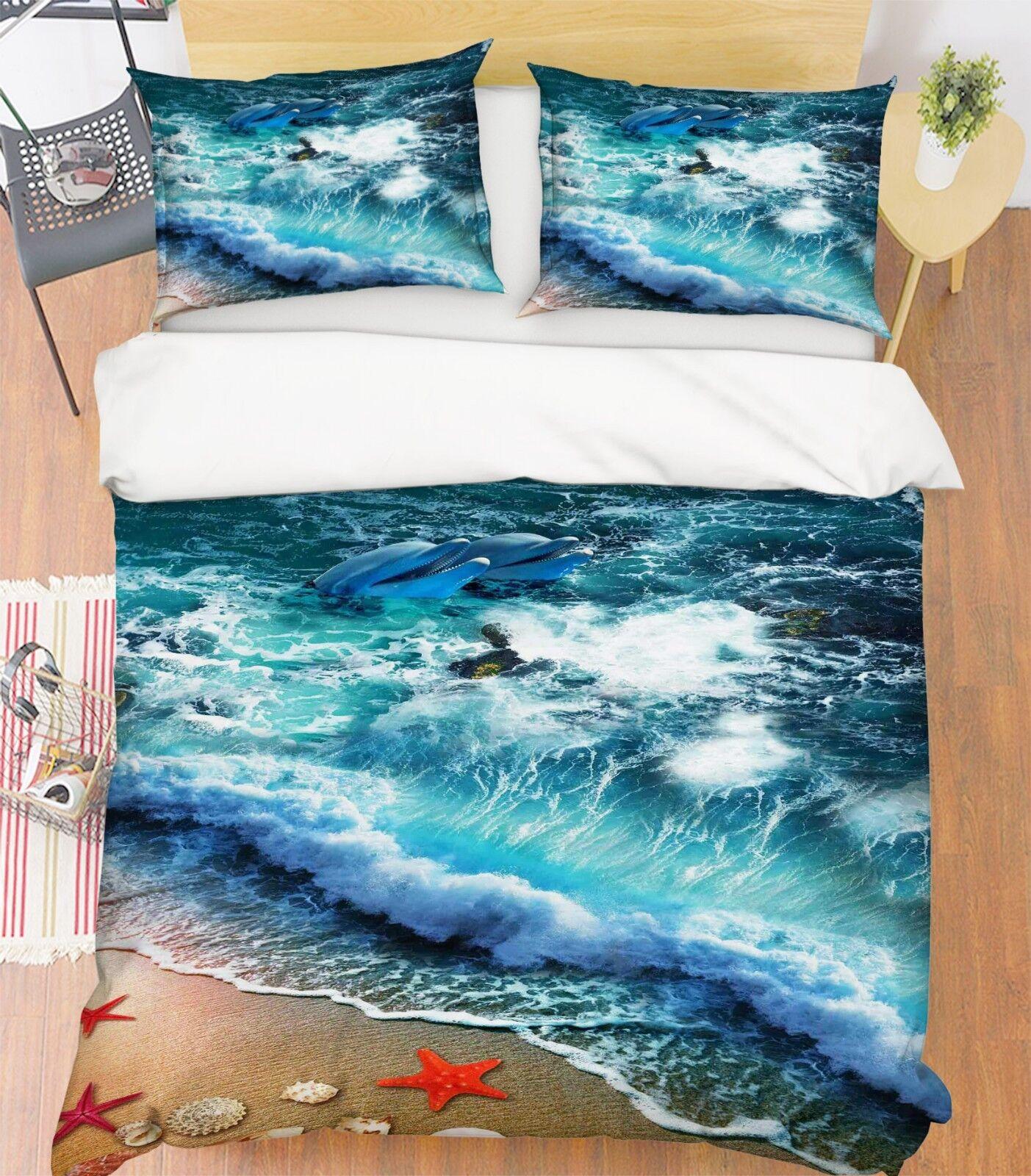 3d Fascino Spiaggia 21 LETTO FEDERE steppe duvet set soffitto single regina de