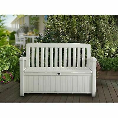 Keter All Weather Resistant Resin Outdoor Patio Storage Bench 60 Gallon White For Sale Online Ebay