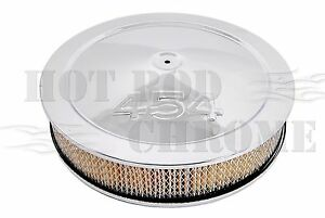 14-Chrome-Muscle-Car-Air-Cleaner-Set-454-Logo-Fits-5-1-8-Carb-Neck-Paper