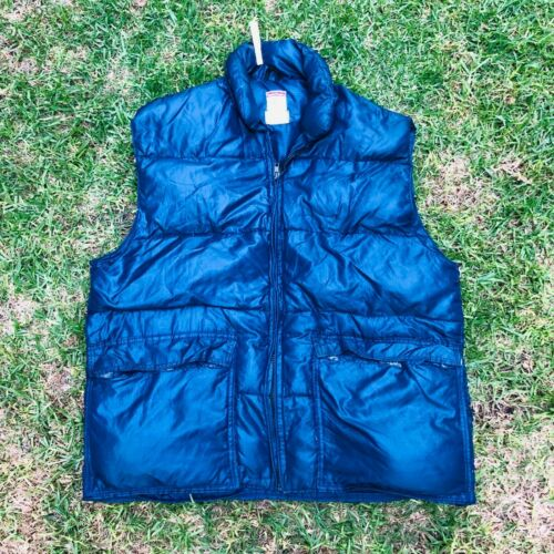 Vintage Frostline Made in USA Blue Nylon Down Vest