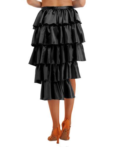 Women/'s Satin Ruffles High-Low Multilayer Latin Dance Skirt Performance Costume