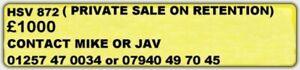 Cherished Private Number Plate Registration HSV 872
