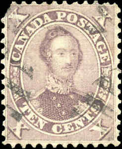 1859-64 Used Canada 10c F+ Scott #17b HRH Prince Albert First Cents Issue Stamp