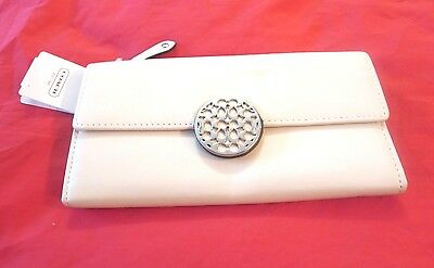 New Coach Ivory Leather Wallet F46148, Bifold,Organizer,Photo Holder,Coin Purse.