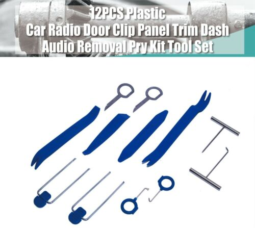 12PCS Plastic Car Radio Door Clip Panel Trim Dash Audio Removal Pry Kit Tool Set