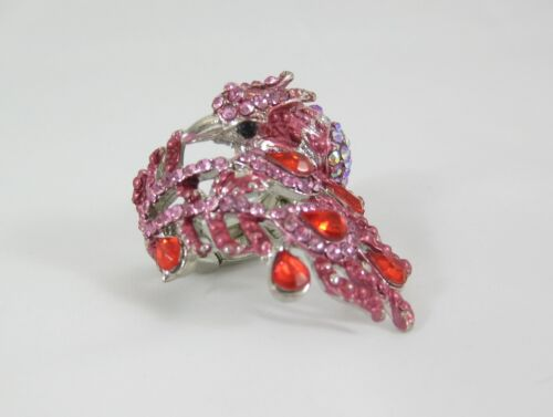Fantastic New Peacock Stretch Ring with Pink Stones /& Crystals NWT #R1197
