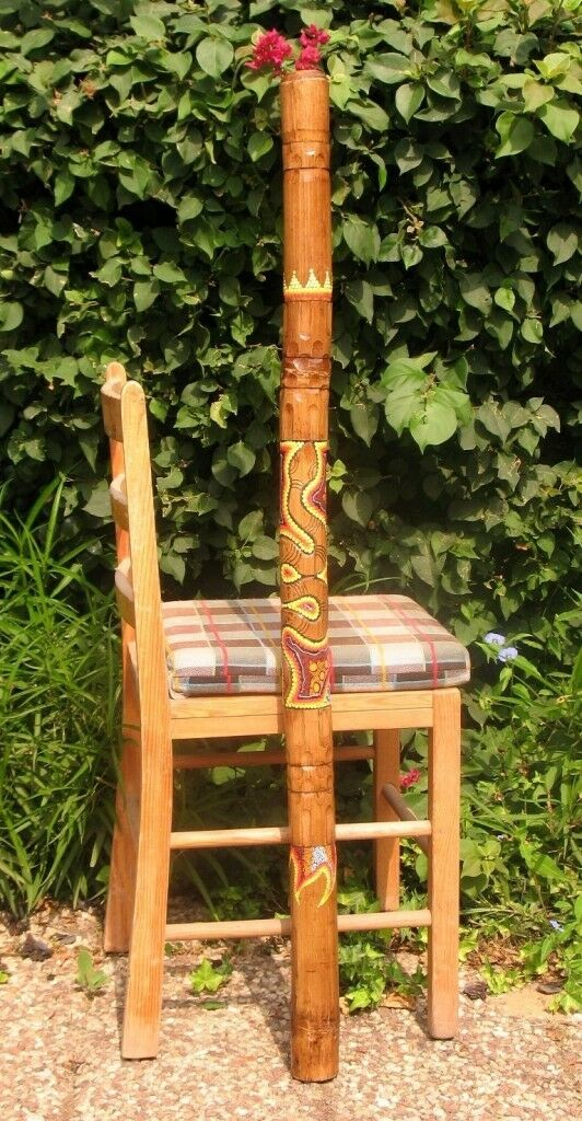 47   \ 120cm Aborigines Didgeridoo Handgeschnitzt & Dot-Painted Schlange