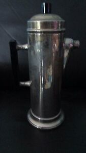 12-Tall-Mid-Century-Modern-Style-Coffee-Pot-Hot-Water-Silver-Plate-on-Copper